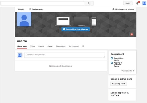 creare account youtube