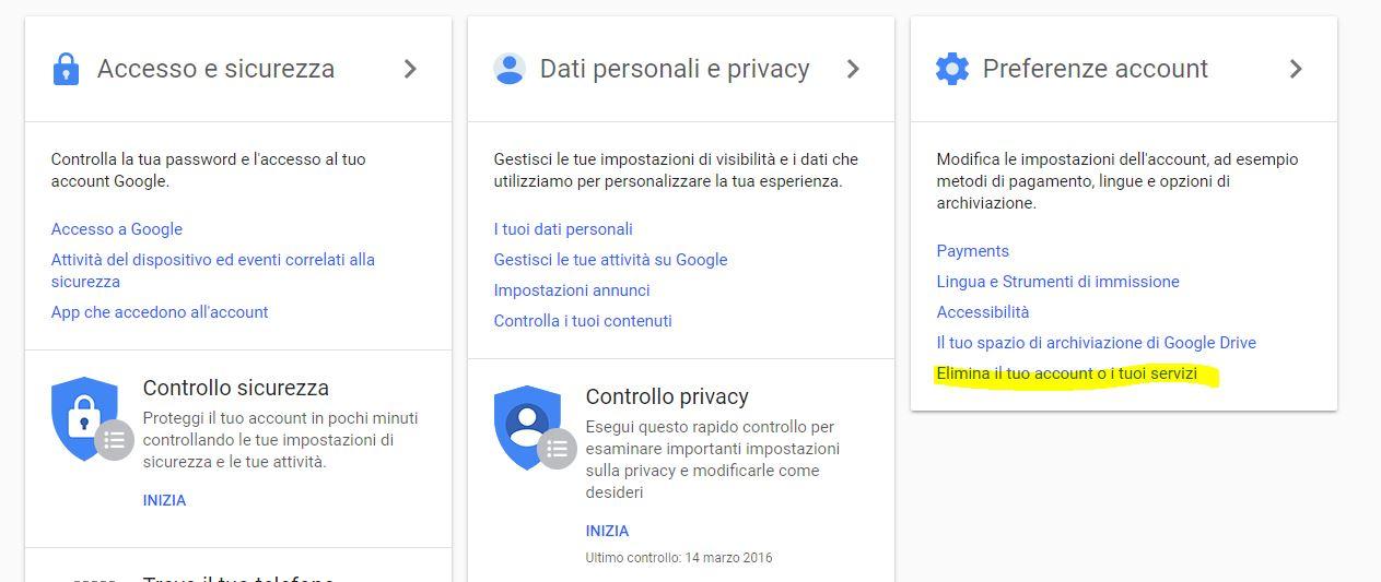 cambiare account gmail