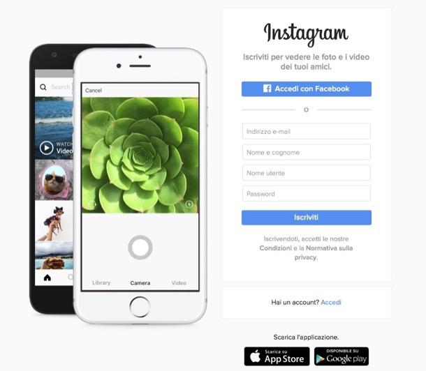 registrazione iscrizione instagram da computer