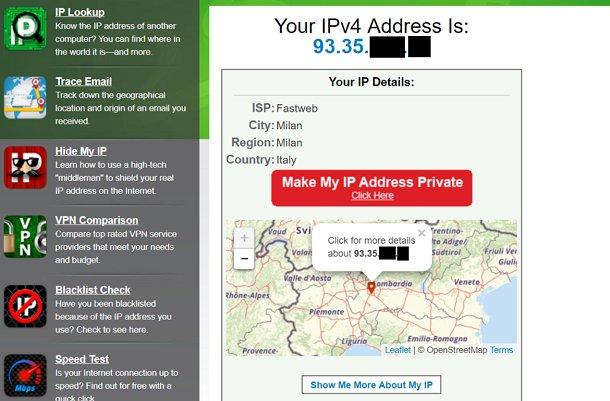 come sapere indirizzo IP